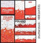 abstract polygon poland flag... | Shutterstock .eps vector #488164531