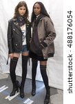 Small photo of New York, NY - September 09, 2016: Antonina Petkovic and Leila Nda pose backstage before the Tommy Hilfiger Fall 2016 Fashion Show - Part 2, during New York Fashion Week