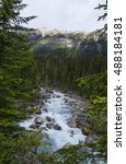 Small photo of Waterfall in Johnson Canyon in Banff National Park in Alberta, Canada
