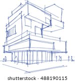 hand drawn architectural sketch ... | Shutterstock .eps vector #488190115