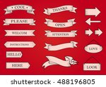 red ribbon banners set.... | Shutterstock .eps vector #488196805
