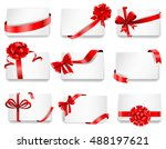 set of beautiful cards with red ... | Shutterstock .eps vector #488197621