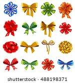 set of gift bows with ribbons.... | Shutterstock .eps vector #488198371