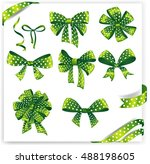 set of green gift bows with...   Shutterstock .eps vector #488198605