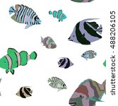 pattern with tropical fishes 1. ... | Shutterstock .eps vector #488206105