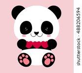 cute panda holds hearts. love...   Shutterstock .eps vector #488206594