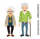 senior couple   cane | Shutterstock .eps vector #488220601