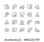 Simple Set of Business Presentation Related Vector Line Icons.  Contains such Icons as Presenter, Teacher, Audience and more. Editable Stroke. 48x48 Pixel Perfect. | Shutterstock vector #488226739