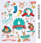christmas decoration vector... | Shutterstock .eps vector #488243929