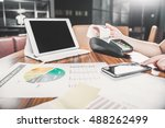 woman thumbup checking report... | Shutterstock . vector #488262499