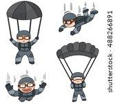 vector set of parachuter | Shutterstock .eps vector #488266891