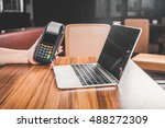 payment terminal in the office. ... | Shutterstock . vector #488272309
