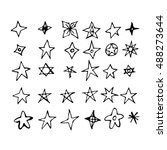 hand drawn star doodle... | Shutterstock .eps vector #488273644