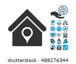 house location icon with bonus... | Shutterstock .eps vector #488276344