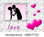 wedding portrait in a love card ... | Shutterstock . vector #48827722
