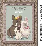 cute bulldog family portrait | Shutterstock .eps vector #488280025