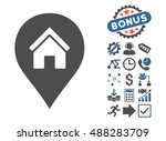 realty map marker icon with... | Shutterstock .eps vector #488283709