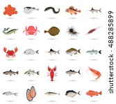 set of color flat sea food and... | Shutterstock .eps vector #488285899