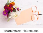 autumn flowers and card for... | Shutterstock . vector #488288401