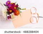 autumn flowers and card for... | Shutterstock . vector #488288404