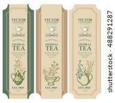 labels herbal tea design ink... | Shutterstock .eps vector #488291287