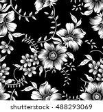 black white flowers | Shutterstock .eps vector #488293069