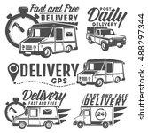 set of post truck for emblems...   Shutterstock .eps vector #488297344