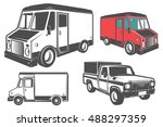 set of post truck for emblems... | Shutterstock .eps vector #488297359