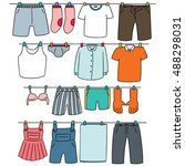 vector set of drying clothes | Shutterstock .eps vector #488298031