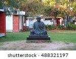 Small photo of AHMEDABAD, INDIA - FEBRUARY 26, 2015: Mahatma Gandhi monument in Sabarmati Ashram. Sabarmati Ashram is the spiritual center founded by Mahatma Gandhi in 1917, headquater of freedom fighting