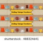 furniture sale advertisement... | Shutterstock .eps vector #488324641