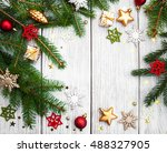 christmas fir tree with... | Shutterstock . vector #488327905