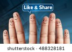 happy group of finger with the... | Shutterstock . vector #488328181