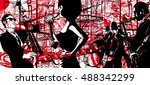 jazz poster with saxophone ...   Shutterstock .eps vector #488342299