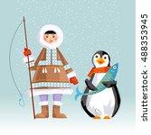 eskimo child holding a rod and...