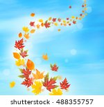 Stock photo autumn falling leaves on blue sky background 488355757