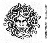 Medusa Head Vector Emblem.