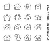 real estate house icons set ...   Shutterstock .eps vector #488367985