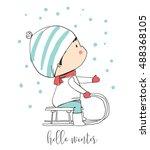 Winter Boy On Sled. Funny...