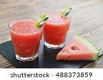 watermelon smoothie in glass... | Shutterstock . vector #488373859