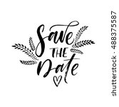 save the date card. hand drawn... | Shutterstock .eps vector #488375587