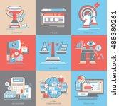 flat vector icons. marketing... | Shutterstock .eps vector #488380261