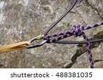 Rock Climber's Belay At Top Of...
