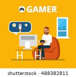 man sitting on beanbag holds... | Shutterstock .eps vector #488382811