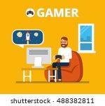 man sitting on beanbag holds... | Shutterstock .eps vector #488382811