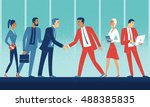 business meeting of two... | Shutterstock .eps vector #488385835