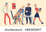 colleagues working together on... | Shutterstock .eps vector #488385847