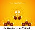 abstract religious happy diwali ... | Shutterstock .eps vector #488386441