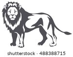 graphic illustration of a lion... | Shutterstock .eps vector #488388715