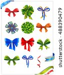 set of gift bows with ribbons.... | Shutterstock .eps vector #488390479